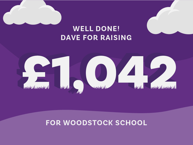 Dave Burborough raised £1,042 for Woodstock School